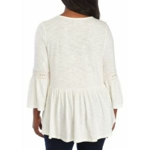 new directions Tops - New Directions Women's Blouse Ivory Plus Sz 0X